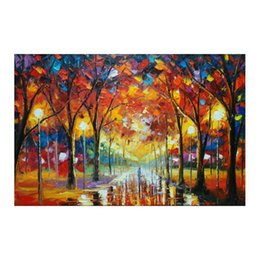 "hand painted romantic canvases UK - 24""*48""Hand-painted canvas oil painting sitting room scenery and romantic european-style hang a picture to the walking on the street"