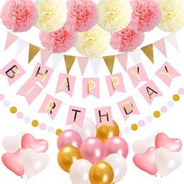 $enCountryForm.capitalKeyWord Australia - Pink Birthday Party Supplies with Burgee Pom pom Paper Flower Heart Balloon and Birthday Banner Girl Ladys Event Party Supplies Theme Party