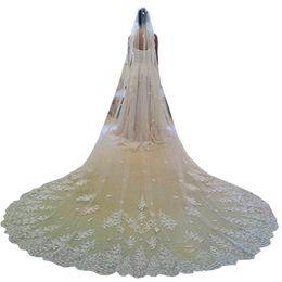 $enCountryForm.capitalKeyWord Australia - Gorgeous Applique One Layers Long Bridal Veils With Lace Edge Church Tulle Wedding Veil Wedding Accessory