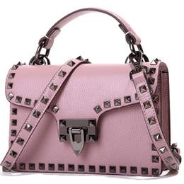 $enCountryForm.capitalKeyWord NZ - Bags Handbags Women Famous Brands Genuine Leather Female Bag Head Layer Leather Rivet Strap Shoulder Crossbody Lock Flap Bag