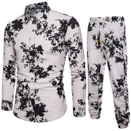 f81faa4e08a feitong colorful floral printed men s sets slim business fit shirt  folk-custom comfortable material linen new blouse top pants