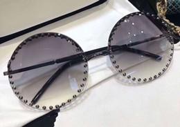 $enCountryForm.capitalKeyWord Australia - 54 s Black Studs Round Sunglasses Grey Smoke Sun Glasses Women Designer Sunglasses Shades New with box