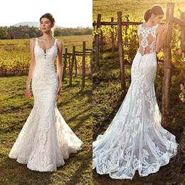 Full Tulle Wedding Dress Australia - 2019 Vintage Ivory Straps Deep V Neck Lace Mermaid Wedding Dresses Full Lace Tulle Summer Beach Wedding Bridal Gowns Illusion Back