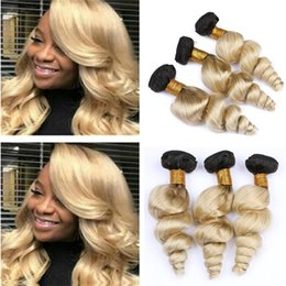 $enCountryForm.capitalKeyWord Australia - Dark Roots Platinum Blonde Ombre Wavy Hair Bundles Deals Loose Wave Two Tone 1B 613 Ombre Human Hair Weave Wefts Extensions
