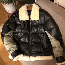 Down Shows Australia - Real picture show Men's thick leather down jacket B3 Double-faced fur collar goat tanned genuine leather