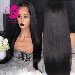 $enCountryForm.capitalKeyWord NZ - Fantasy Natural Black Silky Straight Full Lace Human Hair Wigs Pre Plucked Middle Part Remy Hair Thick 150% Density Full Lace Wig