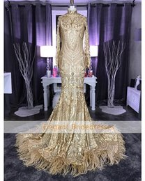 $enCountryForm.capitalKeyWord Australia - Sparkle Gold Mermaid Prom Dresses Feather Long Sleeve Evening Wear Gowns Arabian Sexy Black Girl Party Prom Dress Designer robe de soiree