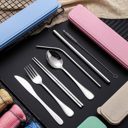 $enCountryForm.capitalKeyWord Australia - 8pcs set Stainless Steel Flatware Set Portable Cutlery Set Outdoor Travel Picnic Dinnerware Set Straw With Box Bag Kitchen Utensil FFA2599