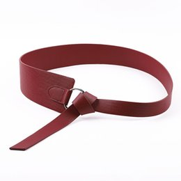 leather obi belts women NZ - New Wide Corset Leather Belt Female Tie Obi Waistband Thin Brown Bow Party Belts for Women Wedding Dress Waistband Lady Present