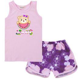Double Leggings Australia - 2019 Newborn Baby Boys Clothes Sleeveless Tops T-shirt Shorts 2PCS Set Leggings Watermelon Outfits Teenage Girls Clothing