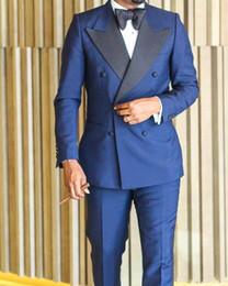 d94edddfa1cf Formal Mens Wedding Tuxedos High Quality Made 2019 New Midnight Blue Double  Breath Peaked Lapel Bridegroom Mens Best Mens Wedding Suits