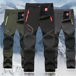 2019 New Hiking pants man waterproof softshell winter Outdoor Trousers Sports Camping Trekking cycling ski fleece Pants Oversize on Sale
