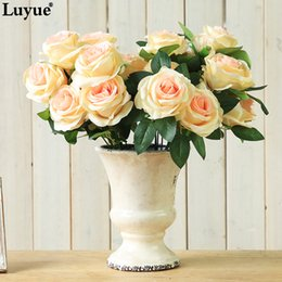purple colour roses UK - High Quality Flower 9 Head flowers Rose Roses Wedding Artificial Decoration FLOWERS bouquet Champagne white purple red colour