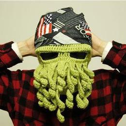 Crochet Ski Mask Australia - New Novelty Adults Octopus Winter Warm Knit Wool Ski Face Mask Crochet Hat Squid Cap Beanie Mens Knitted Beanies