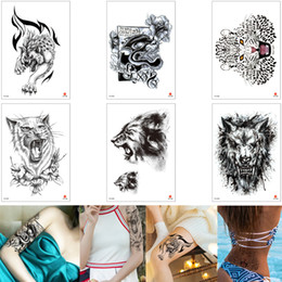 $enCountryForm.capitalKeyWord NZ - Black Temporary Animal Tattoo Leopard Wolf Lion Decal Design Waist Arm Leg Chest Body Art Tattoo Sticker for Male Female Makeup 3D Removable
