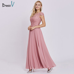 Discount evening dresses peach chiffon - Dressv peach long evening dress cheap lace cap sleeves a line zipper up wedding party formal dress appliques evening dre