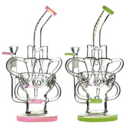 Chinese  Glass Bong Dab Rig Recycler Oil Rigs awesome triple cyclone inline arm heady bongs gear perc water pipes bowl quartz banger purple pipe manufacturers