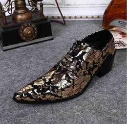 designer tuxedos men NZ - Gold Lace Pointed Toe Men Designer Dress Shoes Increased Printed Shoes for men Party Tuxedo Men's Shoes