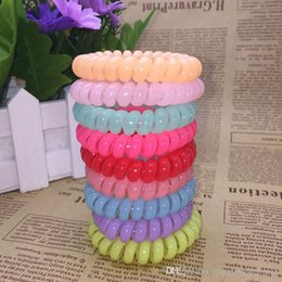 hair elastic bracelet UK - Candy Colored Bracelet 25 Pieces 27 Color 6.5 Cm High Quality Phone Cord Gum Hair Band Girl Elastic Band Elastic EEA22