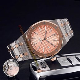 Royal blue Red bRacelet online shopping - Brand Cheap Royal Date SR OO SR Champagne Gold Dial Automatic Mens Watch Sapphire Rose Gold Two Tone Steel Bracelet Watches