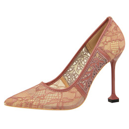 $enCountryForm.capitalKeyWord UK - 10CM 7 Colors New China Style Women Embroidery Mesh Lace Shoes Stiletto Heels Sexy Night-Club Party Wedding Shoes Pumps For Lady Dress Shoes