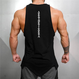 gym clothing wholesalers Canada - Muscleguys Gyms Stringer Clothing Bodybuilding Tank Top Men Fitness Singlet Sleeveless Shirt Solid Cotton Muscle Vest Undershirt