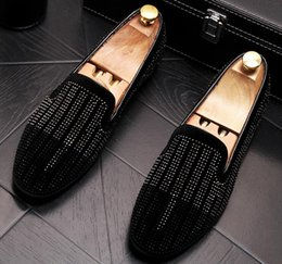 $enCountryForm.capitalKeyWord Australia - Summer Men Brand Designer Flat loafers Rhinestone Breathable Slip-On sneakers Shoes Homecoming Party Wedding Prom High-end Men shoes