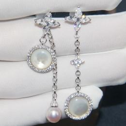 f97dd823bc3b Plata de ley 925 AAA circonita piedra madre de perla pendientes largos  pendientes diseñador 18k chapado en oro joyería del partido del diseñador
