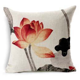 lighting chinese painting Australia - Lotus Flower Leaf Ink Painting Cushion Cover Chinese Culture Sofa Pillows Covers Thick Linen Cotton Pillow Case Chair Decoration