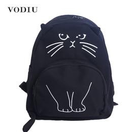 a56478d8113 Cute Designer Harajuku Printing Cat Ear Black White Canvas Backpack Women  School Notebook Bag Teens Girl Rucksacks Mochila