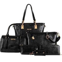 315471e899b4 6 Pcs set Composite Bag Women Handbag Crocodile Pattern Stone Messenger  Bags Shoulder Bag Purse Wallet Pu Leather Handbags