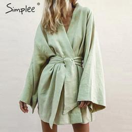 $enCountryForm.capitalKeyWord Australia - Simple Japanese Style V -cut Women's Cotton Dress Solid White Sharpen Female Dress Summer Casual Green Beach Wear Lady Dress 2019 Y19070901