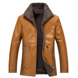 Wholesale mens leather parkas for sale – warmest winter Winter Faux Leather Jacket Men s Thick Velet Warm Leather Jackets Mens Jackets And Coats Winter Fur Collar Plus Size XL Parka