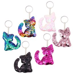 Wholesale holder cellphone resale online - 12pcs Cat Keychains Colorful Sequins Glitter Key Holder Keyring Key Chain For Car Key Cellphone Tote Bag Handbag Charms
