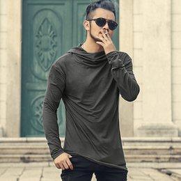 Discount new styles man long cap - Men Autumn New European Style High Collar Long Sleeve Hooded T-shirt with Cap Men Slim Casual Cotton Irregular T-shirt T