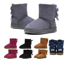 fashion boots for boys Australia - new WGG designer snow boots for children girl boy australian kids boots ankle bailey bowknot fashion winter booties fur boot 26-35