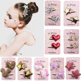 2019 nuevo diseñador chica pinzas para el cabello de oro lentejuelas Girls Barrettes moda amor mariposa bebé pinzas para el cabello niños accesorios para el cabello A2353