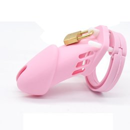 $enCountryForm.capitalKeyWord Australia - Male Silicone Chastity Device Men Cock Cage Virginity Lock with 5 Penis Rings Chastity Belt Adult Game Sex Toys