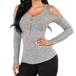 Blouse Zippers Australia - Women Sexy Slim Blouse Round Nneck Open Shoulder Shirt Solid Autumn Long Sleeve Zipper Gray Tops #RN