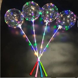 balls balloons sticks NZ - Bobo Ball LED line with Stick handle Wave Ball 3M String Balloons Flashing light Up for Christmas Wedding Birthday Home Party Decoration