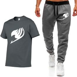 e5c1d165ccac Summer Fairy Tail Anime Men T-Shirts+Pants Two piece suit Quality Short  Sleeve Gyms Clothing Men Cotton Fitness Workout Men's Se