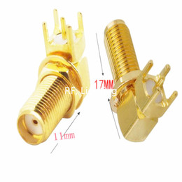 adapter boards Canada - Freeshipping 100pcs SMA Female Jack Right Angle 90' PCB Board Panel Mount RF Coaxial Adapter Connector 17mm