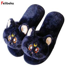 ShoeS pluSh toy Slipper online shopping - Cartoon black cat Slippers Fish mouth Warm Soft Plush House Shoes cat plush toy