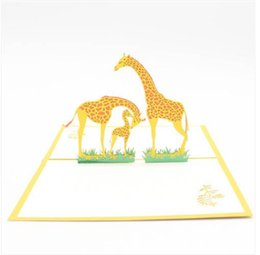 Hot Sales Free Shipping Wholesales Paper Carving 3D Cartoon Giraffe Birthday Blessing Greeting Card Gift