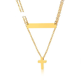 $enCountryForm.capitalKeyWord UK - Gold Color Fashion Lady's Cross Pendant Necklace Stainless Steel Link Chain Necklace Jewelry Gift for Women Girls J419