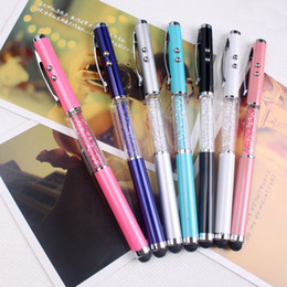 Laser baLLpoint pens online shopping - Pens Multi function laser capacitor pen Ipad touch screen pen stylus Crystal capacitor pen Three in one capacitor