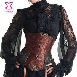 $enCountryForm.capitalKeyWord Australia - Vintage Brown Brocade Steampunk Underbust Corset Steel Bone Slimming Waist Trainer Corsets And Bustiers Sexy Gothic Clothing Y19071901