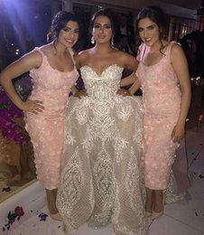 $enCountryForm.capitalKeyWord Australia - 2019 sexy sheath Bridesmaid Dresses with 3D flower Lace appliques Custom Made Maid of Honor Gowns tea length Modest pink Bridesmaid Gowns