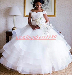 Country models online shopping - Beautiful Lace South African Wedding Dresses Tiered Tulle Beads Sash Capped Nigerian Bride Dress Vestido de novia Country Bridal Ball Gowns