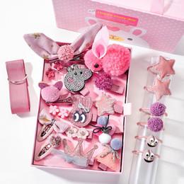 $enCountryForm.capitalKeyWord Australia - Girls' Headwear pink Gift Box Set 24PCS Hair Cards Baby Hair Ornaments Cute Flowers Hairclip Bow Tiaras Animal adorned Birthday Gift